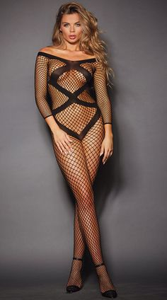 Look sexy from head to toe in this fishnet bodystocking featuring off-the-shoulder sleeves, 3/4 length sleeves, an opaque striped design, and an open back panel. Off-the-Shoulder Fishnet Bodystocking, Black Fishnet Bodystocking, Striped Bodystocking