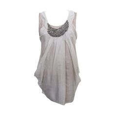 Vera Wang Light Taupe Jeweled Blouse | From a collection of rare vintage blouses at https://www.1stdibs.com/fashion/clothing/blouses/