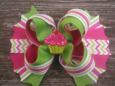 Boutique Cupcake Hair Bow, Pink and Green Stacked Hairbow, Girls Hairbow, Birthday Bow, Toddler Hair Bow, Large Hairbow by JazzyandSassyDesigns on Etsy