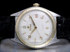 Rolex - Datejust Ovettone Bubbleback 5031 Cassa: acciaio/oro - 36 mm Ghiera: oro giallo Vetro: vetroplastica Quadrante: bianco - numeri arabi Bracciale: pelle Chiusura: ardiglione Movimento: automatico