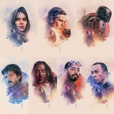 """""""Rogue One"""" is a fantastic movie with a great cast! This set of incredible character posters is by the talented artist Rich Davies. <<< I agree! Star Wars Poster, Star Wars Art, Star Trek, Rougue One, Rogue One Star Wars, Diego Luna, Bae, The Force Is Strong, Love Stars"""