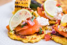 Venezuelan cachapas with cold smoked trout cachapas, crowdie cheese & burnt corn salsa.