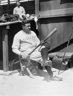 SPRING SWING: Babe Ruth Looking Over His Big Bat  at Spring Training in St. Petersburg, Florida, March 12 1920
