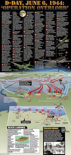 On June 6, 1944, nearly 160,000 Allied troops landed along a heavily fortified, 50-mile stretch of French coastline in the historic operation known as D-Day. More than 9,000 Allied soldiers were killed or wounded on the beaches of Normandy, but by day's end, the Allies had gained a foothold to begin liberating Europe. Here you have some of the best infographics on the Normandy landings through the courtesy of their graphic designers. Each infographic has a link to the source opriginal. This…