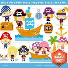 Buy 2 Get 2 Free ---- Pirate Kids---- Personal and Small Commercial Use ---- BB 0054 Pirate Illustration, Pirate Kids, Japanese Embroidery, Pirate Theme, Book Projects, Craft Items, Diy Crafts For Kids, Handmade Crafts, Teacher Gifts