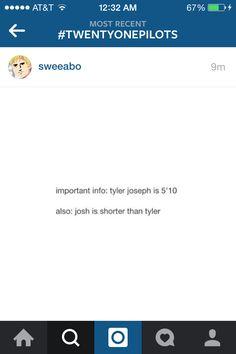 Wait, what? No. Is Josh really shorter than Tyler? That doesn't make sense to me...