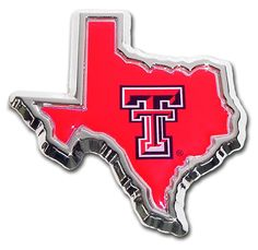 Display your Texas Tech school pride and support with this red, black and chrome Texas State shaped car emblem. Perfect gift idea for your favorite Red Raiders fan or alumni. Made in the USA. Elektrop