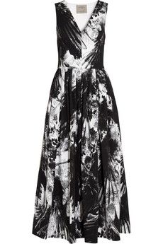 Love this shape and print. Wear dressed up or down. Will have to wait until the sale. Preen by Thornton Bregazzi Vertigo printed stretch-crepe midi dress | NET-A-PORTER