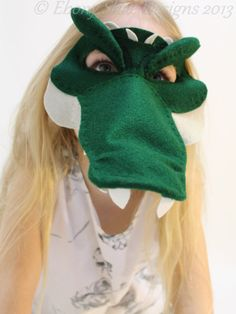 Felt crocodile mask or alligator mask pattern. by EbonyShae