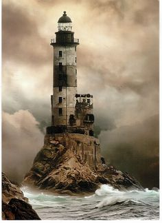 Russia, Lighthouse Aniva, Sakhalin, Sea of Okhotsk.
