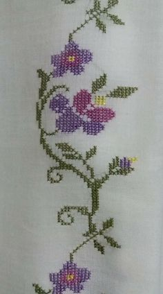 This Pin was discovered by Ays Embroidery Needles, Bargello, Diy And Crafts, Cross Stitch, Pattern, Cross Stitch Borders, Cross Stitch Flowers, Hand Embroidery Stitches, Embroidery Stitches