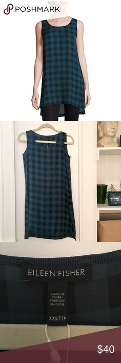 """NWT Silk checkered tank dress / tunic NWT Eileen Fisher buffalo check printed silk dress (not from Madewell). Size xxsmall but runs large (I'm a size small/large or 4/6 and it fits me), so I marked it as a small: measures 33.5"""" long and a little over 16"""" wide. 100% silk, slightly sheer - can be worn with a slip underneath as a dress or as a tunic with jeans/leggings. Originally $238, currently sold at Neiman Marcus on sale for $142. Madewell Dresses Mini"""