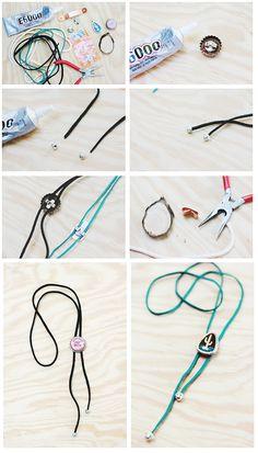 c… - DIY Clothes Crafts IDeen Diy Halloween Dekoration, Jw Gifts, Tie Crafts, Country Jewelry, Diy For Men, Bolo Tie, Clothes Crafts, Jewelry Making Tutorials, Diy Jewelry
