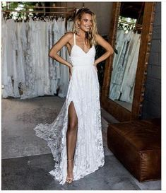 Bohemian Wedding Dress Inspiration perfect for a destination wedding, beach wedding, outdoor wedding. French Lace Bridal Gowns Handmade by Grace Loves Lace Lace Beach Wedding Dress, V Neck Wedding Dress, Wedding Dresses With Straps, Backless Wedding, Long Wedding Dresses, Elegant Wedding Dress, Perfect Wedding Dress, Bridal Lace, Bridal Dresses
