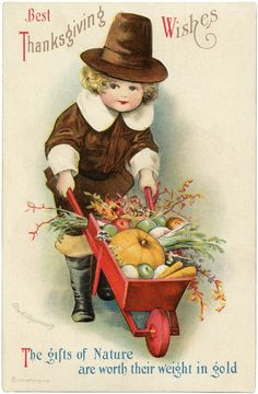Best Thanksgiving Wishes ~ vintage holiday greeting card with adorable pilgrim boy ~ artwork by Ellen H. Clapsaddle   via The Graphics Fairy