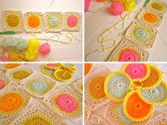 a citrus-y take one crochet circle granny squares Scrap Crochet, Crochet Blocks, Love Crochet, Crochet Motif, Crochet Crafts, Crochet Yarn, Yarn Crafts, Crochet Patterns, Crochet Ideas