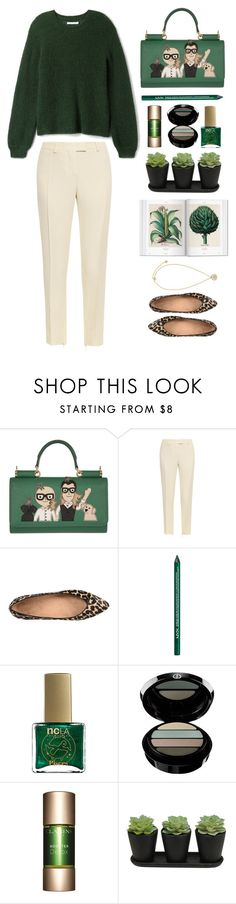 """Green Sweater & D&G bag"" by youaresofashion ❤ liked on Polyvore featuring Dolce&Gabbana, Christopher Kane, Vionic, NYX, ncLA, Giorgio Armani, Clarins and Versace"
