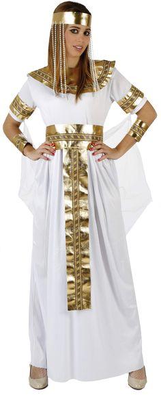 Disfraz de reina egipcia para mujer: Disfraz de reina del Nilo para mujer compuesto por una larga túnica blanca con velo transparente, una corona, un cinturón, un cuello y unos brazaletes dorados a juego. El gorro dorado...