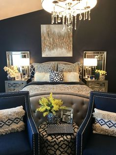 Romantic Master Bedroom Design Ideas - Home Decor Ideas Navy Bedroom Decor, Navy Bedrooms, Modern Bedroom, Living Room Decor, Bedroom Furniture, Contemporary Bedroom, Bedroom Yellow, Bedroom Wall, Bedroom Chair