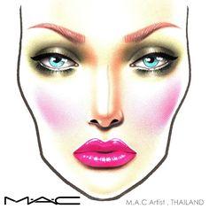 Mac Face Charts, Makeup Face Charts, Mac Makeup, Beauty Makeup, Photographic Makeup, Makeup Course, Pink Poodle, Wedding Art, Makeup Forever
