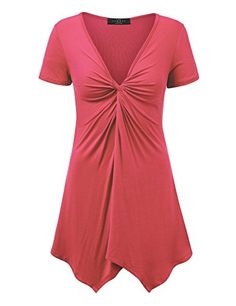 LL WT1359 Womens Short Sleeve Knot Front Baby Doll Tunic ...