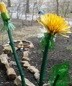 Dandelion from plastic bottles
