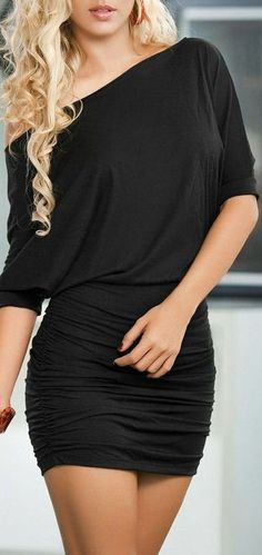 Off-Shoulder Blouson Dress / #lbd