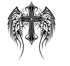 cross with wings tribal meanings and symbols for scott Tribal Cross Tattoos, Tribal Wings, Celtic Cross Tattoos, Cross With Wings Tattoo, Cross Tattoo For Men, Cross Tattoo Designs, Tattoos Skull, Body Art Tattoos, Sleeve Tattoos
