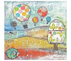 "Art Print ""Up up and away"" - Print of Mixed Media Painting - Nursery Art Print - B2G1F"