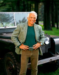 Ralph Lauren is pictured with a 1954 47mm Vintage Panerai and in front of his 1950 vintage Series 1 Land Rover.