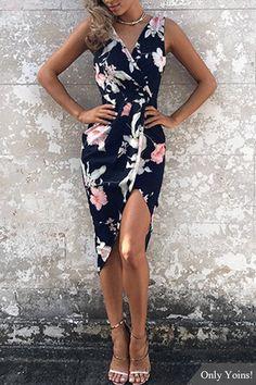 Navy Random Floral Print Sleeveless Midi Dress US$12.99