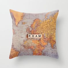 Map pillow ROAM18x18 or 22x22 travel pillow от VintageChicImages, $40.00