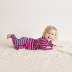 Linzi Merino Pink and Navy Stripe Thermal Long Johns