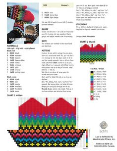 <3 Knitting Charts, Knitting Stitches, Knitting Patterns, Free Knitting, Knitted Mittens Pattern, Knitted Gloves, Tapestry Crochet, Ideas, Mittens