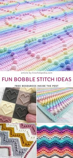 Fun Bobble Stitch Ideas - article by Crochetpedia. Fre - Tricot Pontos Ideas Fun Bobble Stitch Ideas - article by Crochetpedia. Crochet Shell Stitch, Crochet Stitches Patterns, Stitch Patterns, Knit Crochet, Crochet Geek, Crochet Stitches For Blankets, Unique Crochet Stitches, Free Crochet Patterns For Beginners, Different Crochet Stitches