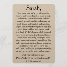 Will you please be my bridesmaid? Custom text card Be My Bridesmaid Cards, Will You Be My Bridesmaid, Wedding Bridesmaids, Funny Wedding Invitations, Custom Invitations, Toned Paper, Post Wedding, Envelope Liners, Wedding Cards