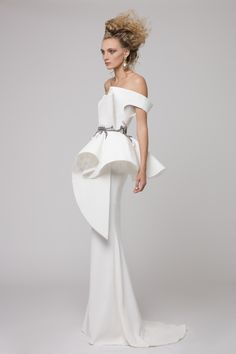 """Azzi & Osta Couture Fall/Winter 16/17   """"Promises Of Dawn""""    White, Fishtail, Off the Shoulder, Hand Embroidery, White Pearls, Metallic Silver Thread"""