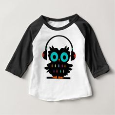 Owl with Earphones Baby T-Shirt - gift for her idea diy special unique