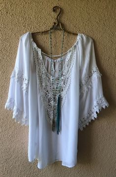 Image of Free People crochet and lace Beach bohemian Gypsy tunic for pool