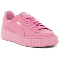 PUMA Basket Platform Reset Sneaker (2.945 RUB) ❤ liked on Polyvore featuring shoes, sneakers, pink, pink platform sneakers, wide width shoes, platform trainers, platform sneakers and wide shoes