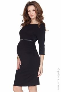 Maternity Clothes: Seraphine Simple Ruched Black Dress - Click to enlarge