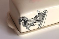 Harp Playing Squirrel butter dish by yvonneellen on Etsy, $32.00 Marty is going to get this tattoo ... i love squirrels and the harp for Harper
