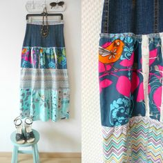 Great maxi skirt fashioned from a recycled jean skirt ~