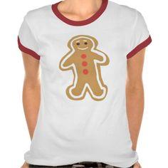 Gingerbread Cookie Women's Ringer T-Shirt; Abigail Davidson Art; ArtisanAbigail at Zazzle