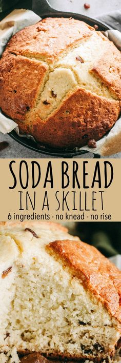 Soda Bread Recipe in a Skillet – Super easy, slightly sweet, quick and traditional Irish Soda Bread made with just 6 ingredients! #stpatricksday #sodabread #breadrecipes #skilletrecipes