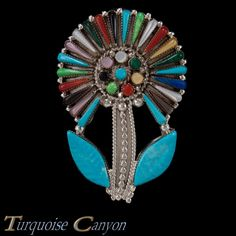 Zuni Native American Turquoise and Shell Flower Pin and Pendant SKU 227336 | eBay