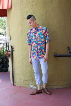 Mens Vintage 80s Funky Silk Button-Down 100 Percent Silk