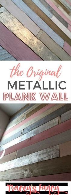 The First Ever Metallic Wood Plank Wall - Traceys Fancy - Girls Nursery Ideas - Feature Wall Ideas - Rustic Glam - Pink, Gold and Silvers Source by tbellion room Wood Plank Walls, Wood Planks, Pallet Walls, Headboard Pallet, Wall Wood, Headboard Ideas, Metal Walls, Girl Nursery, Nursery Ideas