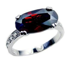 Passion's Flame' Sterling Silver Red CZ Ring Size 7.75