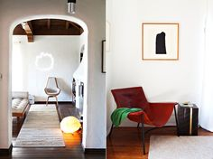 white walls, leather, wooden floors.